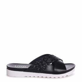 SARITA - Black Glitter Slider With Crossover Front Strap And Cleated Sole