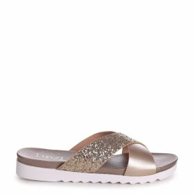 SARITA - Gold Glitter Slider With Crossover Front Strap And Cleated Sole