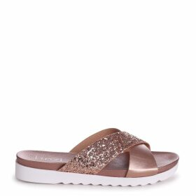 SARITA - Rose Gold Glitter Slider With Crossover Front Strap And Cleated Sole