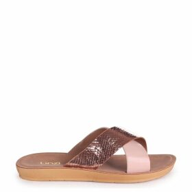 SECRET - Rose Gold Lizard & Nude Slip On Slider With Crossover Front Strap