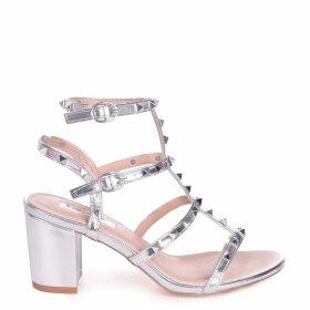 TESSA - Silver Studded Block Heeled Sandal