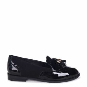 MAXIE - Black Patent & Suede Classic Tassel Loafer