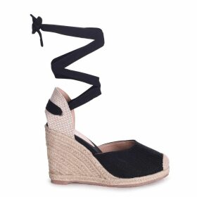 MEGHAN - Black Canvas Closed Toe Espadrille Wedge With Tie Up Straps