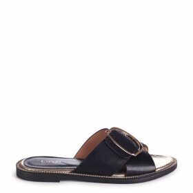 VEGAS - Black Slip On Slider With Crossover Front Strap & Giant Buckle Detail
