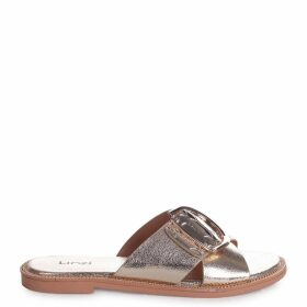 VEGAS - Gold Slip On Slider With Crossover Front Strap & Giant Buckle Detail