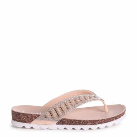 PETRA - Nude Diamante Toe Post Sandal With Cleated Sole
