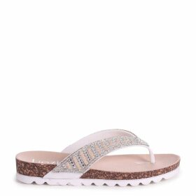 PETRA - White Diamante Toe Post Sandal With Cleated Sole