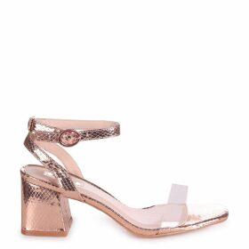 WISH - Rose Gold Faux Lizard Perspex Block Heeled Sandal