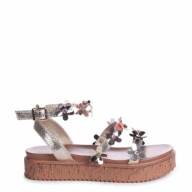 MELODY - Gold Metallic Flatform with All Over Floral Detail