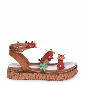 MELODY - Tan Nappa Flatform with All Over Floral Detail