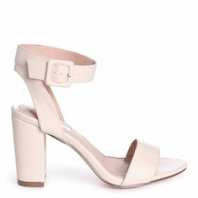 MILLIE - Beige Nappa Open Toe Block Heel With Ankle Strap And Buckle Detail