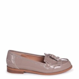 ROSEMARY - Concrete Faux Patent Leather Classic Slip On Loafer