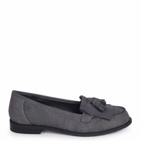 ROSEMARY - Grey Lizard Faux Leather Classic Slip On Loafer