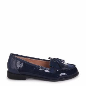 ROSEMARY - Navy Patent And Lizard Classic Slip On Loafer