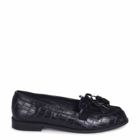 NELLE - Black Croc & Suede Classic Loafer with Bow & Fringing