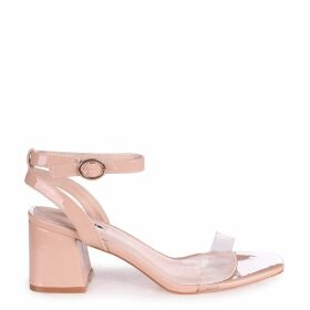WISH - Nude Patent Perspex Block Heeled Sandal