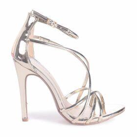 PALOMA - Gold Strappy Stiletto Heel