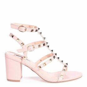 TESSA - Nude Studded Block Heeled Sandal