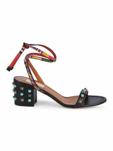Studded Leather Block-Heel Slingback Sandals