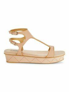 Double Buckle Platform Leather Sandals