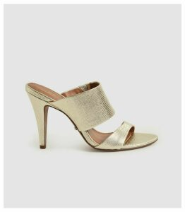 Reiss Nela - Leather Strap Sandals in Gold, Womens, Size 8