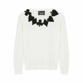 Boutique Moschino Ivory Appliquéd Wool Jumper
