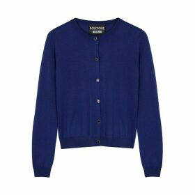 Boutique Moschino Navy Knitted Wool Cardigan