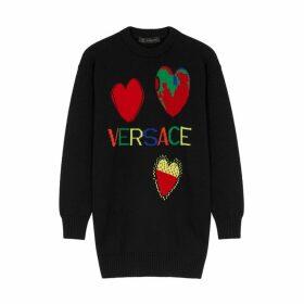 Versace Black Logo-intarsia Wool Jumper