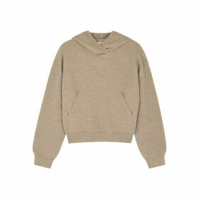 Nanushka Mog Taupe Hooded Wool-blend Jumper