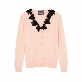 Boutique Moschino Light Pink Appliquéd Wool Cardigan