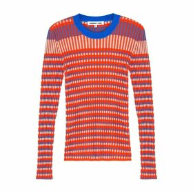 McQ Alexander McQueen Orange Striped Cotton-blend Jumper