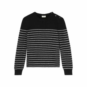 Saint Laurent Black Metallic-striped Jumper