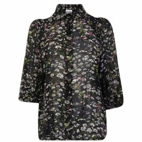 Ganni Floral Balloon Sleeve Blouse