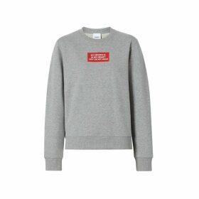 Burberry Quote Print Cotton Sweatshirt