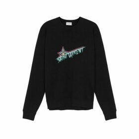 Saint Laurent Black Logo Cotton Sweatshirt