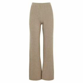 Nanushka Leba Taupe Flared Wool-blend Trousers