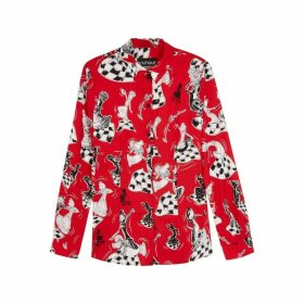 Boutique Moschino Red Printed Blouse