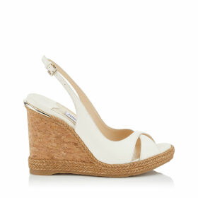 AMELY 105 Chalk Nappa Leather Wedges with Braid Trim