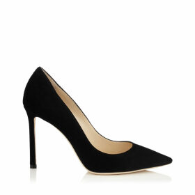 ROMY 100 Black Suede Pointy Toe Pumps