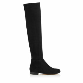MYREN FLAT Black Stretch Suede and Suede Over the Knee Boots