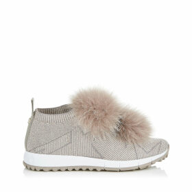 NORWAY Opal Grey Knit and Lurex Trainers with Grey Fur Pom Poms