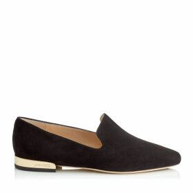 JAIDA FLAT Black Suede Square Toe Slippers