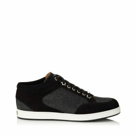 MIAMI Black Fine Glitter and Suede Sneakers
