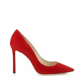 ROMY 100 Red Suede Pointy Toe Pumps