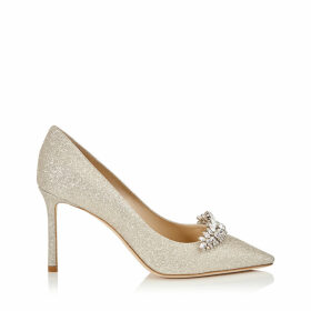 ROMY 85 Platinum Ice Dusty Glitter Pointy Toe Pumps with Crystal Tiara