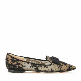 GALA Black Floral Lace Pointy Toe Flats