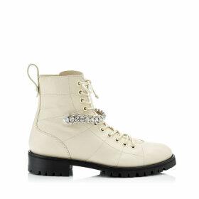 CRUZ FLAT Linen Grainy Leather Cruz Flat Boots with Crystal Detailing