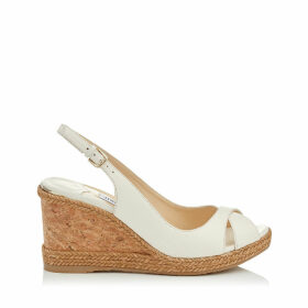 AMELY 80 Chalk Nappa Leather Sandals with Braid trim Wedge