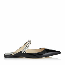 BING FLAT Black Patent Leather Mules with Crystal Strap