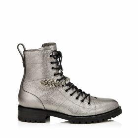 CRUZ FLAT Anthracite Metallic Grainy Leather Cruz Flat Boots with Crystal Detailing
